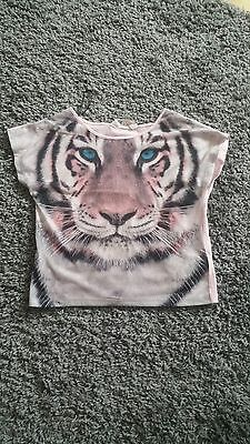girls summer tiger print top age 10-12 years
