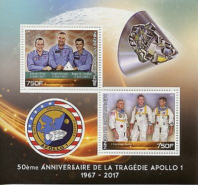 Benin 2017 MNH Apollo 1 Tragedy 50th Anniv 2v M/S Space Stamps