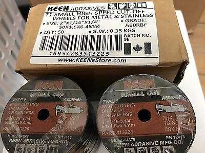 "Pack of 50, Keen 2"" X 1/16"" X 1/4"" METAL STAINLESS CUT OFF WHEELS #13223"