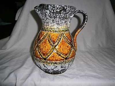 German Lava Type Pottery Jug, No Markings, Exc Cond