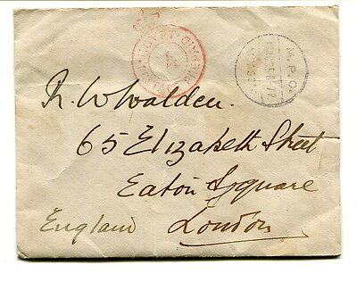 """British Forces in Egypt 1935 """"POSTAGE PREPAID"""" cover """"MPO MOASCAR"""" to London"""