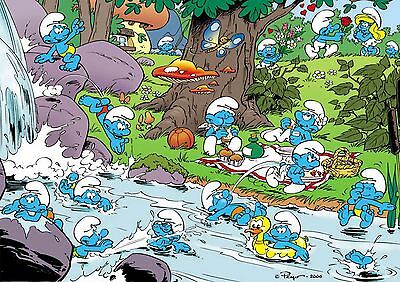 Sticker Autocollant/poster A4 Les Schtroumpfs The Smurfs.schtroumps Village