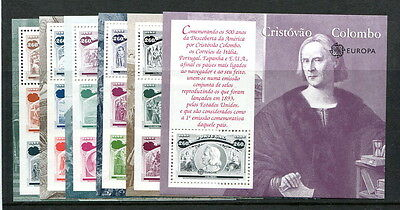 Portugal 1992 500th Columbus Anniv. Discovery of America set of 6 MS's unm mint