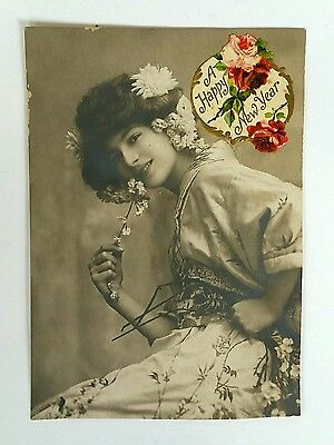 Vintage - Postcard Type New Year Greeting - Nothing On Back - Embossed