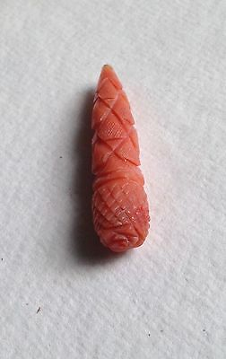Antique / vintage Italian Carved Coral Pendant Bead