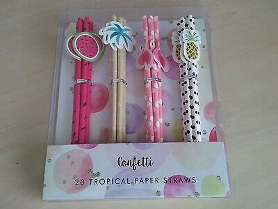 20 Tropical Cocktail Summer Party Straws Flamingo Watermelon Pineapple Palm Tree
