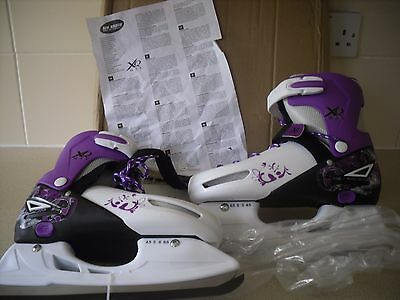 NEW XQ Max Ice Skates Adjustable Size ADULT  4.5 to 6.5 White & Purple