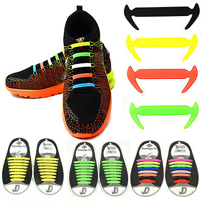 16PCS Colorful Elastic No Tie Lazy Silicone Shoelace Sneakers Strings Shoe Laces