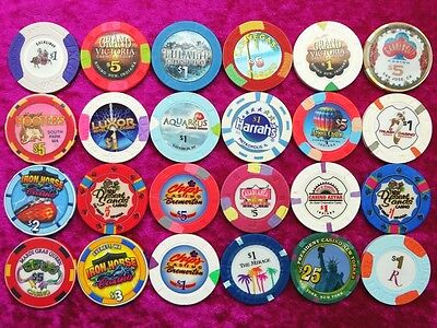 CASINO CHIPS LOT, collection 24 casino chips