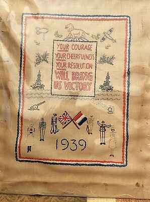 ww2 embroidery sampler , home front , 1939 -1945 wartime artwork