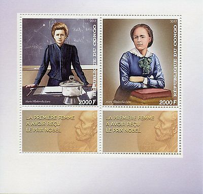 Congo 2017 MNH Marie Curie Nobel Prize Winner 2v M/S Physics Science Stamps