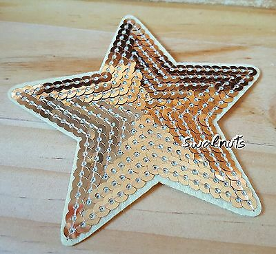 GOLD Iron on Transfer Sequin Embroidered Star Patch Applique Motif Badge