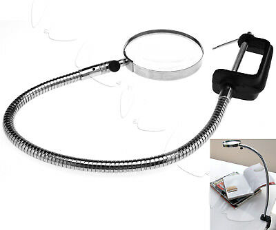 Hands Free Magnifier Lens Magnifying Glass Flexible Neck Desk Clamp