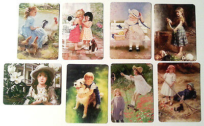 8 Busy Children Swap / Playing Cards - Modern Wide - Linen