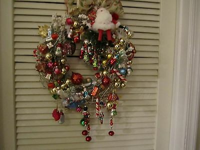 White grapevine Shabby Cottage Wreath with LOTS of Goodies!!