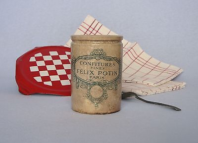 VINTAGE FRENCH EARTHENWARE JAM CROCK from Felix Potin, in outstanding condition