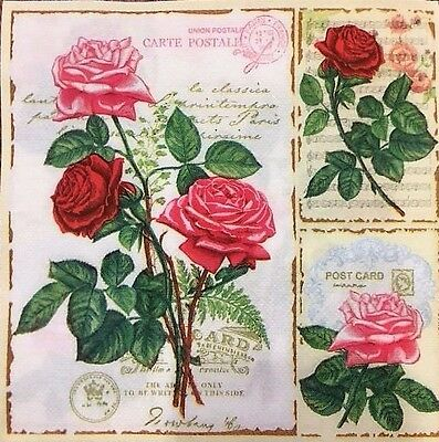 20 paper napkins for decoupage crafts collection Flowers Post cards item #2501
