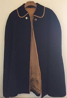 Vintage Navy Velvet Collared Cape - Coat Jacket Poncho One Size Large Nurses