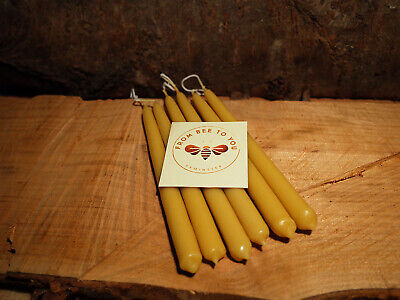 12 100% beeswax candles handmade pure quality natural hand dipped from Devon UK