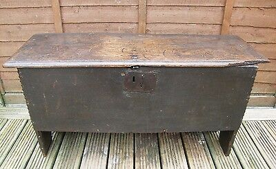 ANTIQUE OAK 6 PLANK SWORD CHEST COFFER BLANKET BOX EARLY 1600 POSS ElIZABETH 1
