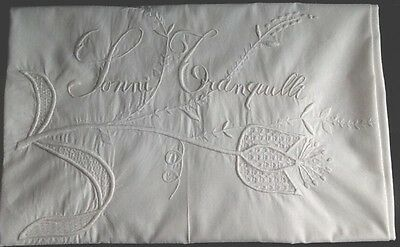 Antique Italian  trousseau bolster cover, Embroidered  Son Tranquil