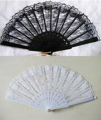 Hand Held Lace Folding Fan; Lace, Costume, Period, Summer, Vintage, Ball, [0102]