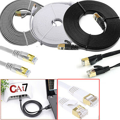 RJ45 Cat7 Ethernet Gold Plated Cable NEW High Speed Ultra-thin Flat LAN Lead Lot