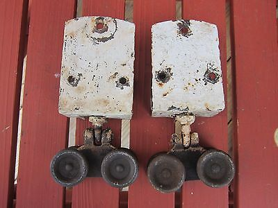 Lot of 2 Antique Barn Farm Door Rollers~ Vtg Iron Hardware
