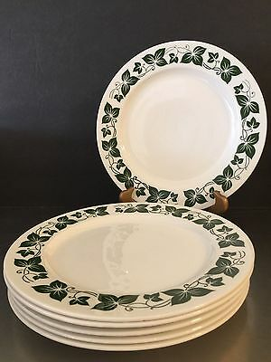 Homer Laughlin Dinner Plates Green Ivy Set of 6 Made in USA Replacement China