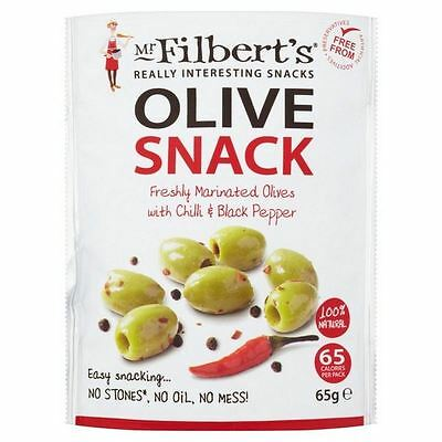 Mr Filberts Olive Snacks Pitted Green Olives with Chilli & Blackpepper 65g