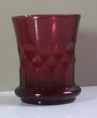 Antique 18th/19thC Cut Heart Ruby Glass Drinking Cup