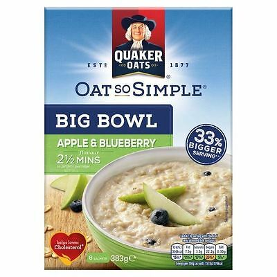 Quaker Oat So Simple Big Bowl Apple & Blueberry Porridge 8 x 48g