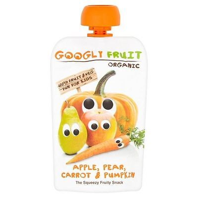 Googly Fruit Organic Apple, Pear, Carrot and Pumpkin Squeezie 100g