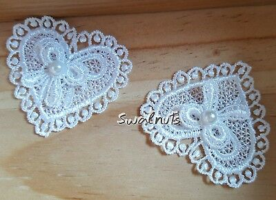 5pcs Embroidered Heart Lace Pearl Bow Trim Ribbon Applique Patch Motif - Ivory