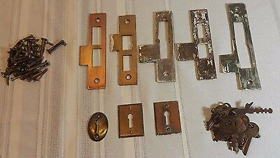 Lot Antique Architectural Salvage Brass Strike Plates Copper Finish screws keys