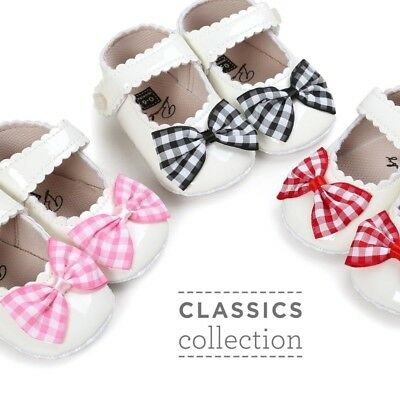 Baby Girl Princess Bow Shoes Newborn Soft Sole PU Leather Crib Shoes Prewalkers