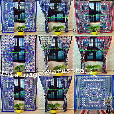 Indian Paisley Printed Curtains, Tapestry Drapes, Window Treatment Bohemian Set