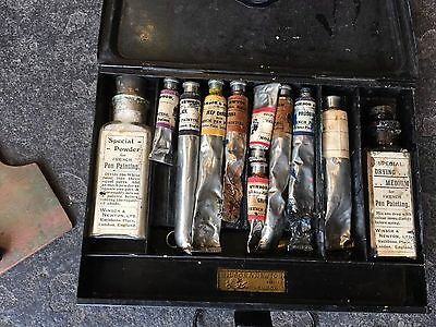Vintage Winsor  And Newton French Pen Painting Tin Set Artist Materials Paint