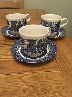 3 Willow Pattern Cups And Saucers