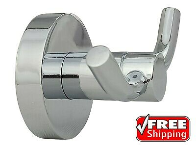 Robe Hook New Muzardi Designer Polished Chrome Round Bathroom Coat Double Shiny