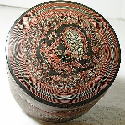 CCbx ANTIQUE BURMESE LACQUERWARE BOX, engraved design  5 x 3 1/4 inches