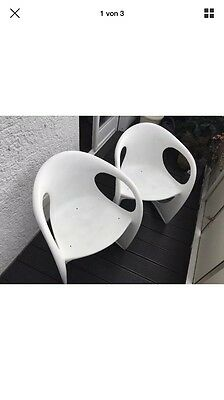 2 x CASALA Space Age Plastic Chair - weiss - 70er Jahre Begge