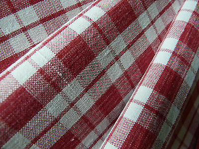 Antique French woven linen fabric remnant Red white gingham, check from 1890s