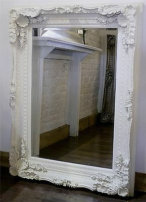 "Chelsea Ornate Carved Louis French Style Wall Mirror White 48"" x 36"" X Large"