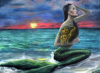 Custom Mermaid Oil Painting Size 12X16""