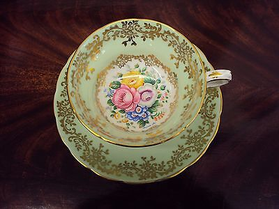 "Antique Signed ""Laura Lee"" Grosvenor Rose Floral Tea Cup & Saucer Ca. 1912"