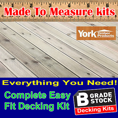 "New Garden Decking Kits Tanalised Redwood Decking ""B Grade"" ALL YOU NEED Boards"