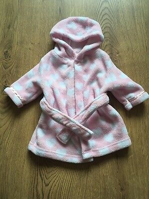 perfect pink/white love heart fleeced dressing gown with hood baby girl newborn