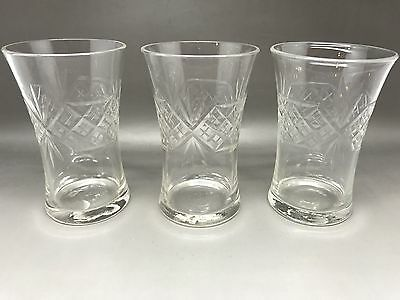 3 Beautiful Vintage Tumblers With Etched Decoration