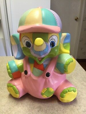 Large Ceramic Elephant Hand Painted Coin Bank Multicolor 1970's Girl